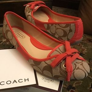 pink and canvas monogram coach josie flats 7.5